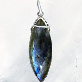 Labradorite Marquis Pendant with Sterling Bail | New Earth Gifts