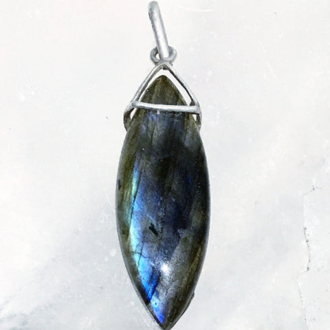 "Beautiful, delicate Marquis Labradorite Pendant with Sterling Bail shows the gemstone's beauty. The style is unique - think Game of Thrones! Long 2.25"" x .75"" - New Earth Gifts"