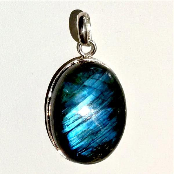 Labradorite Deep Blue Sterling Oval Pendant | New Earth Gifts