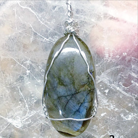 Blue Labradorite Large Wire Wrap Pendant - New Earth Gifts