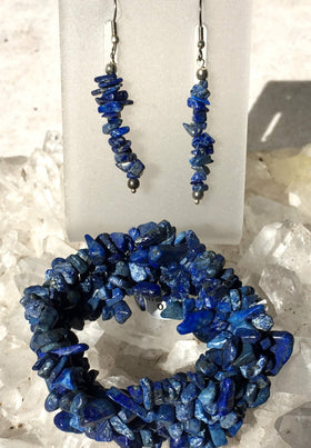 Lapis 5-strand Cuff Stretch Bracelets with Matching Earrings - New Earth Gifts