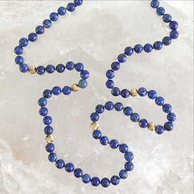 Lapis Beaded Necklace - Hand Knotted | New Earth Gifts