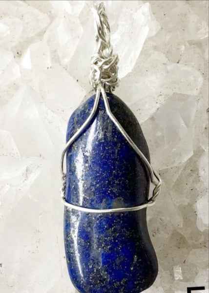 Lapis Long Free Form Wire Wrap Pendant -New Earth Gifts