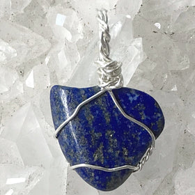 Lapis Heart Shaped Wire Wrapped Pendant - New Earth Gifts