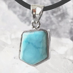 Larimar Blue Free Form Sterling Pendant | New Earth Gifts