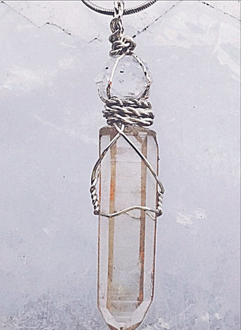 Lemurian & Herkimer Diamond Pendant For Nurturing Of The Soul. Minimally Wire Wrapped
