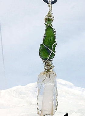 Lemurian Seed Crystal Pendant Paired with Moldavite | New Earth Gifts