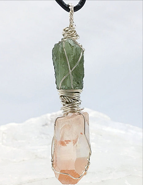 Moldavite & Lemurian Pendant | New Earth Gifts