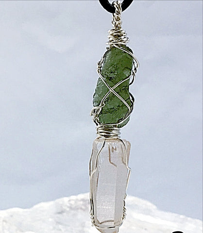 Moldavite & Lemurian Pendant Opens One's Heart to Emotional Healing- New Earth Gifts