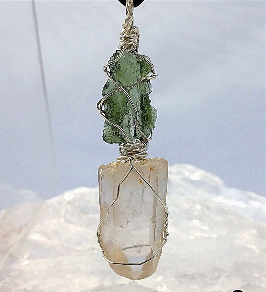 Moldavite & Lemurian Pendant for Transformation | New Earth Gifts
