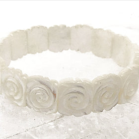 Mother of Pearl Rose Carved Bracelet - New Earth Gifts