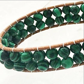 Beaded Wrap Bracelet of Malachite Gemstones - New Earth Gifts