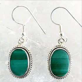 Malachite Sterling Silver Oval Earrings -New earth Gifts