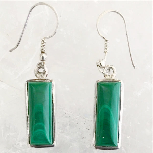 Malachite Sterling Rectangular Dangle Earrings - New Earth Gifts