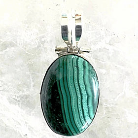 Malachite Oval Sterling Silver Pendant | New Earth Gifts