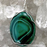 Malachite Oval Pendant Wire Wrap | New Earth Gifts