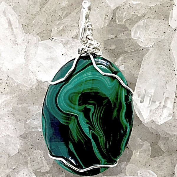 Malachite Pendant Unique Natural Design - New Earth Gifts
