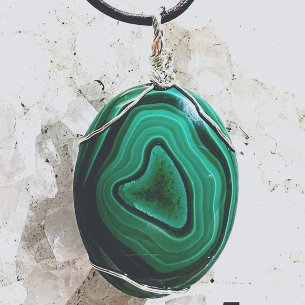 Malachite Pendant with Center Heart Formation | New Earth Gifts