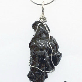Meteorite Wire Wrap Pendant in Sterling Silver | New Earth Gifts