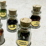 Mini Bottles of Gemstone Chips - Mix and Match Set of 7 - New Earth Gifts and Beads