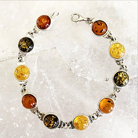 Amber Sterling Bracelet Featuring Yellow, Honey and Green Amber - New Earth Gifts