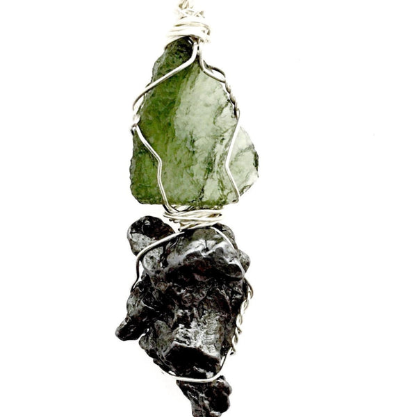 Moldavite and Meteorite Pendant Cosmic Energy - New Earth Gifts