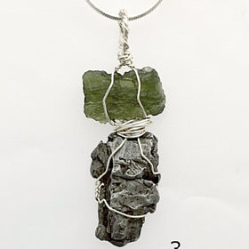 Moldavite and Meteorite Pendant for Powerful Energy | New Earth Gifts