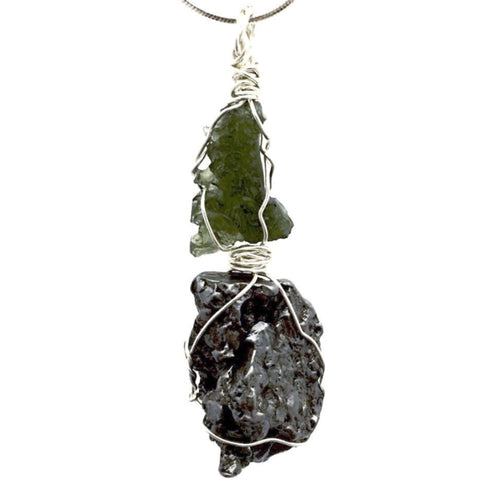 Moldavite and Meteorite Pendant Accentuates Cosmic Power - New Earth Gifts