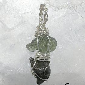 Moldavite and Meteorite Pendant for Petite Sizes - New Earth Gifts