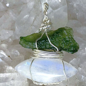 Moldavite and Rainbow Moonstone Pendant | New Earth Gifts