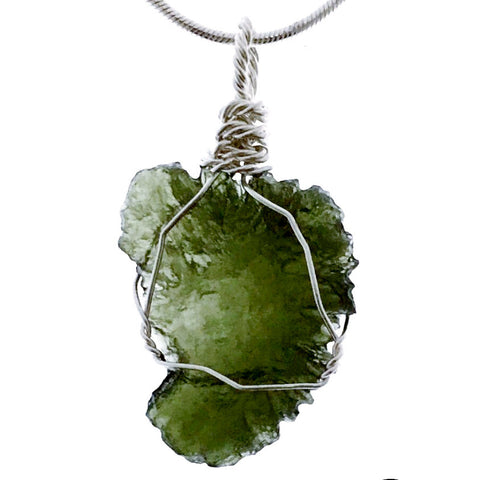 Moldavite Raw Whimsical Pendant in Sterling Silver Wire - New Earth Gifts