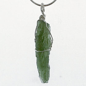 Moldavite Long Wire Wrapped Pendant | New Earth Gifts