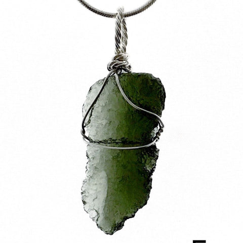 Moldavite Pendant - Large Sterling Silver Wire Wrap - New Earth Gifts