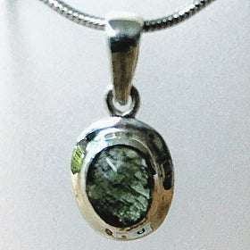 Moldavite Sterling Silver Faceted Oval Pendant | New Earth Gifts