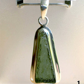 Moldavite Triangle Pendant Sterling Silver | New Earth Gifts