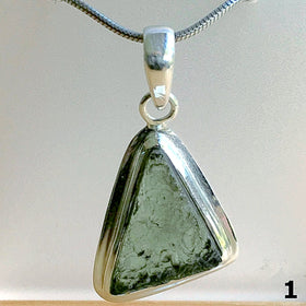 Moldavite Free Form Sterling Pendant for Celestial Energy | New Earth Gifts