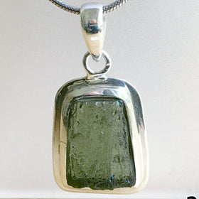 Moldavite Sterling Silver Trapezoid Pendant | New Earth Gifts