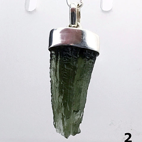 Moldavite Pendant Sterling Silver 1.3 Inches 5 Grams Natural Moldavite - New earth Gifts