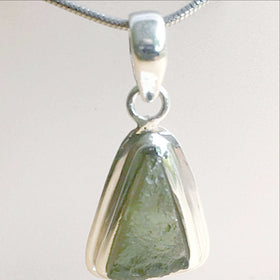 Moldavite Sterling Silver Abstract Pendant | New Earth Gifts
