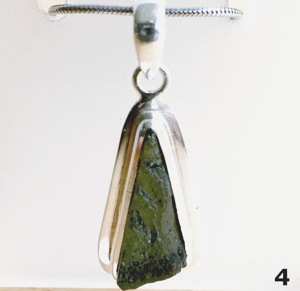 Moldavite Natural Free Form Sterling Pendant - New Earth Gifts