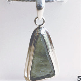 Moldavite Sterling Free Form Pendant | New Earth Gifts