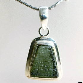 Moldavite Sterling Trapezoid Pendant | New Earth Gifts