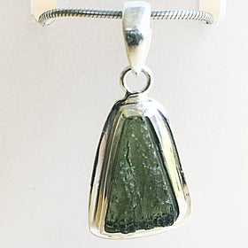 Moldavite Sterling Silver Unique Trapezoid Pendant | New Earth Gifts