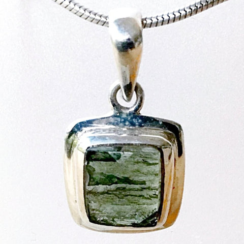 Moldavite Faceted Square Sterling Pendant - Earth Gifts