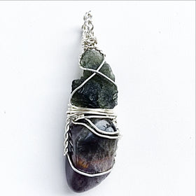 Moldavite and Super 7 Pendant | New Earth Gifts