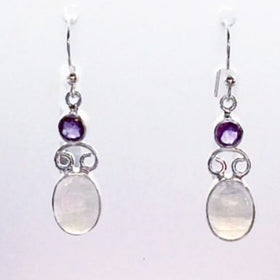 Moonstone Oval Earrings with Amethyst Accents | New Earth Gifts
