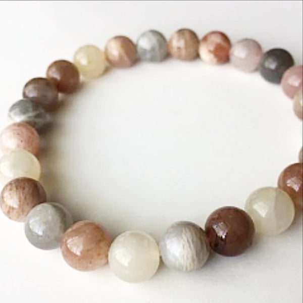 Moonstone Power Bracelet for Calming Energy and Self Discovery-8mm | New Earth Gifts