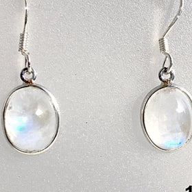 Rainbow Moonstone Oval Dangle Sterling Earrings -New Earth Gifts