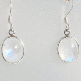 Moonstone 10mm Oval Sterling Earrings | New Earth Gifts