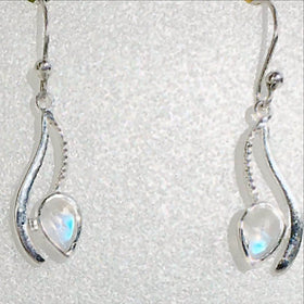 Rainbow Moonstone Curving Line Design Sterling Earrings - New Earth Gifts